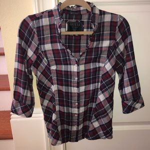 Guess 3/4 sleeve flannel top